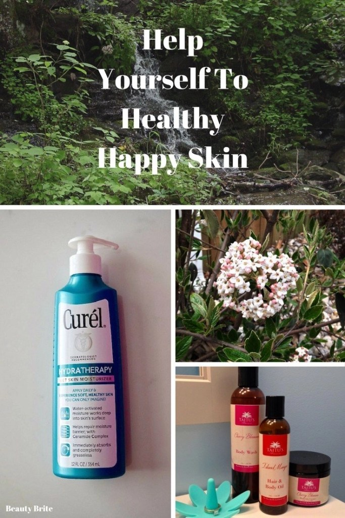 Help Yourself To Healthy Happy Skin-Curel Hydratherapy Wet Skin Moisturizer-Taitu's Botanicals Cherry Blossom Body Care