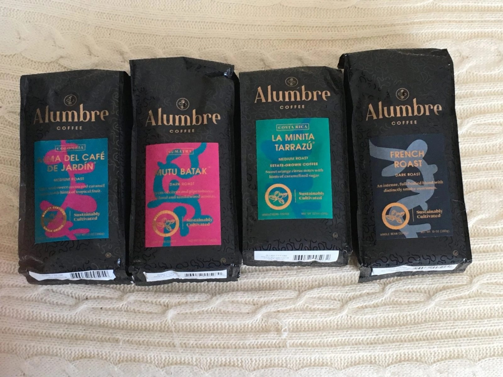 Alumbre Coffee Bags Lined Up