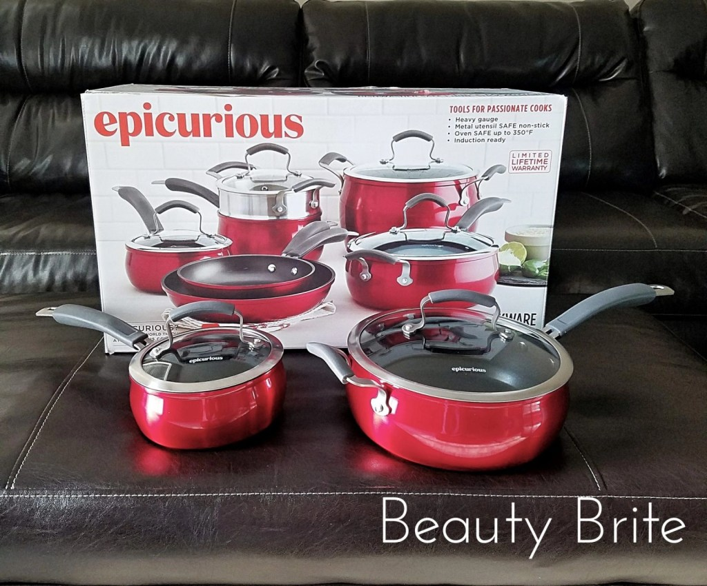 Epicurious 11 Piece Cookware Set Red Collection