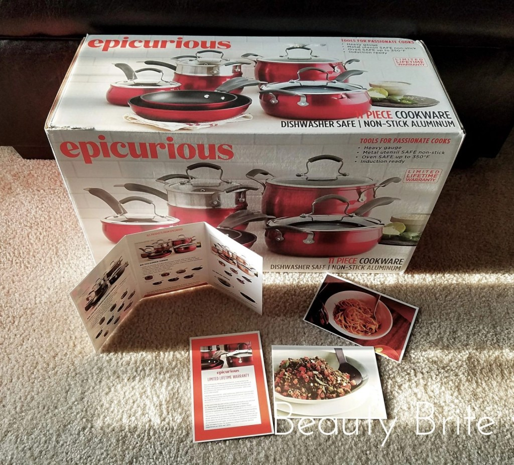 Epicurious 11 Piece Cookware Set Red Collection in box