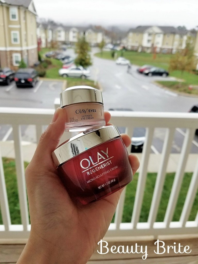 Olay 28 Day Challenge products on porch