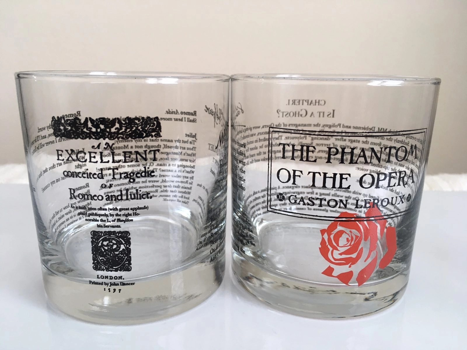 Uncommon Green Engraved Glassware - Fun Engraving on Glasses of Plays and Shows