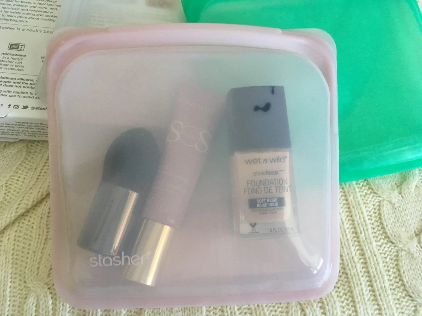 Stasher Reusable Storage Bags with makeup in it