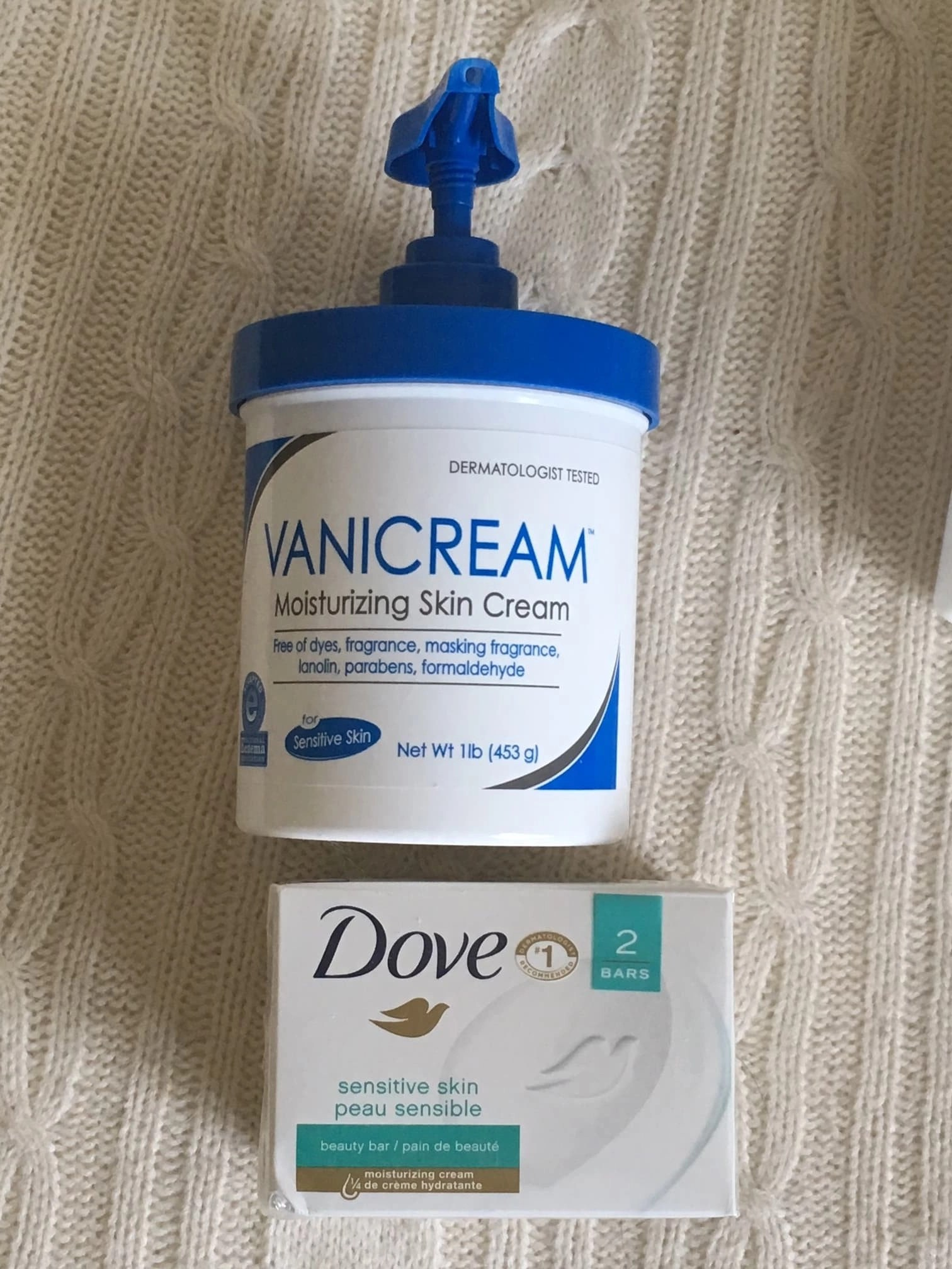Vanicream and Dove body soap