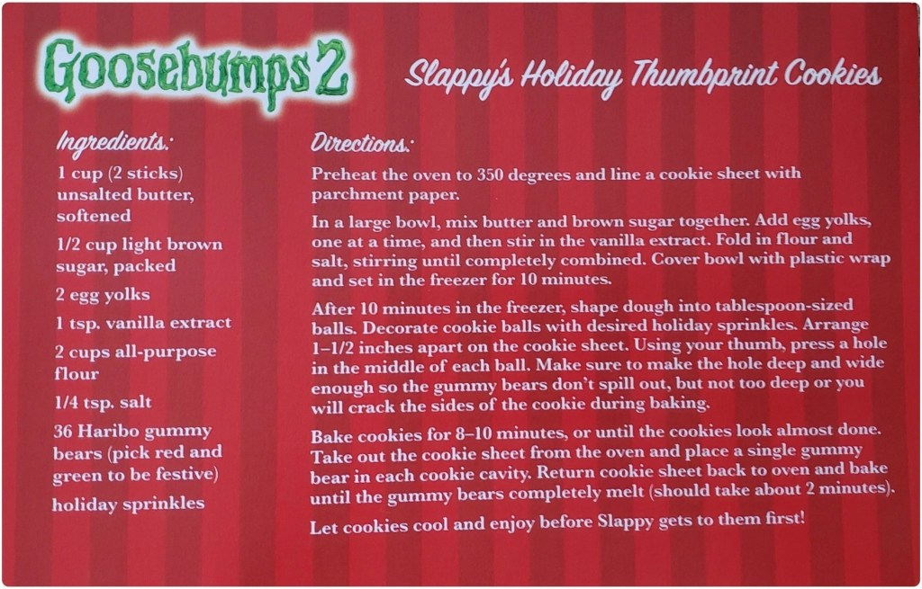 Slappys Holiday Thumbprint Cookies Goosebumps 2