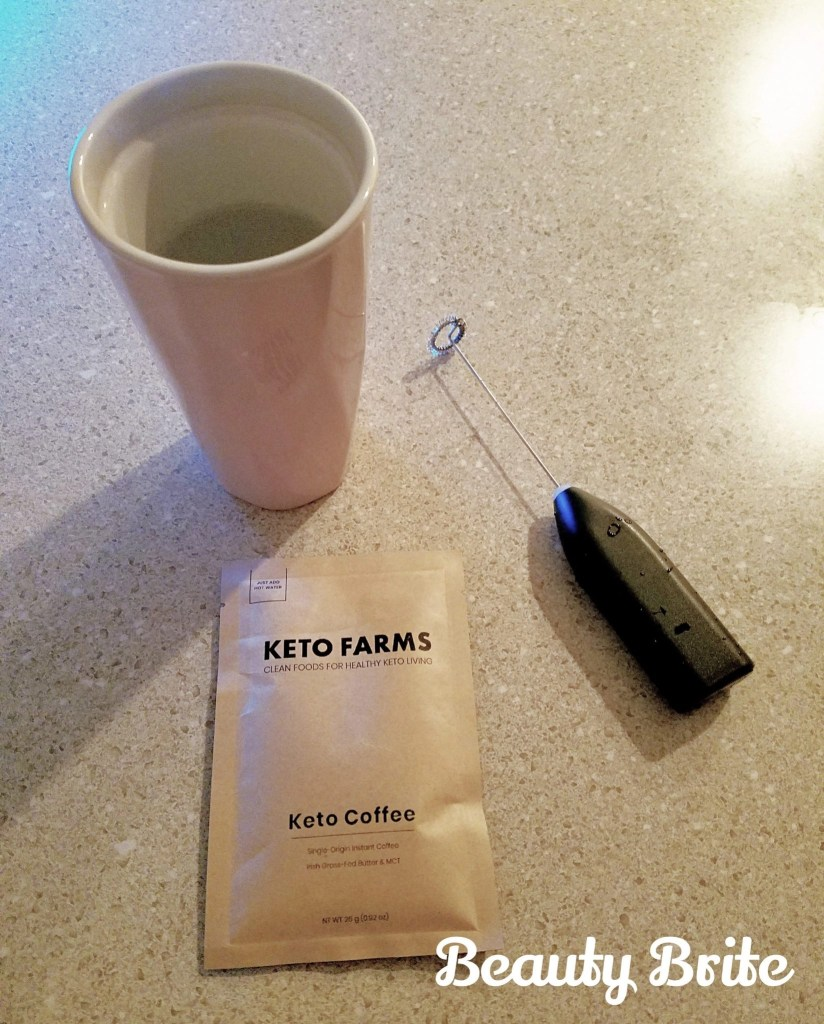 Keto Coffee supplies with hot water and mini blender
