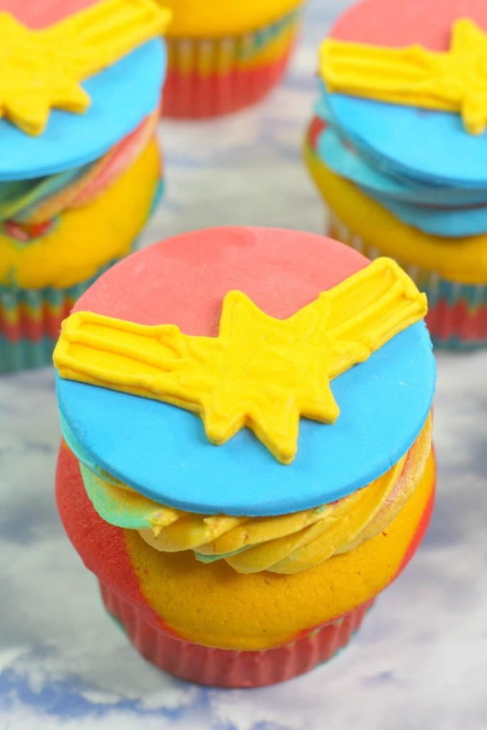 Captain Marvel Cupcakes upclose