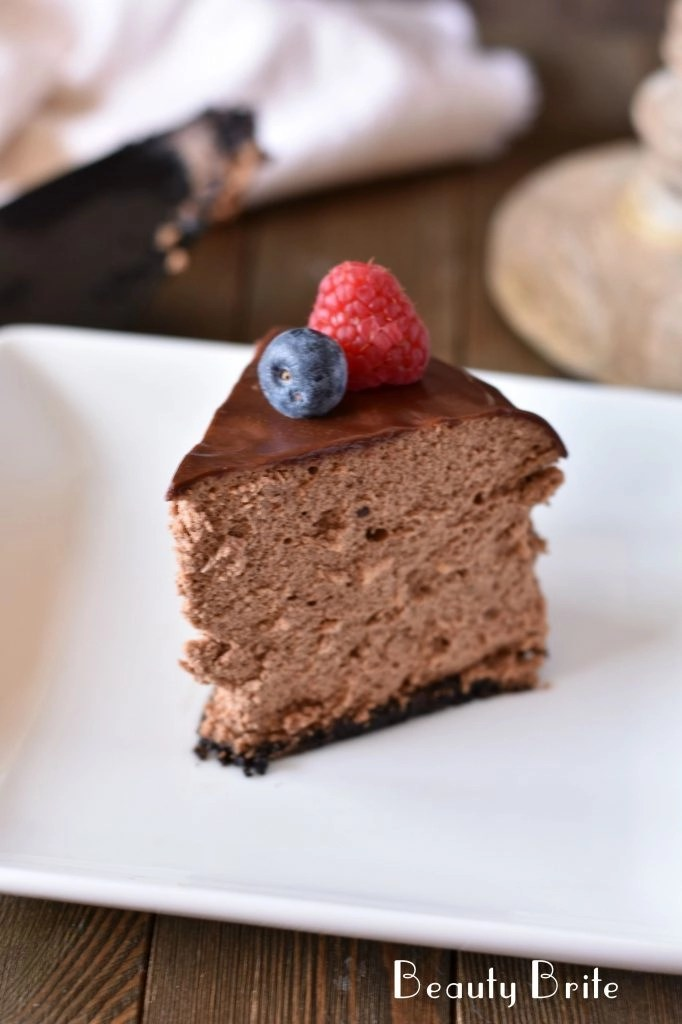 Instant Pot Chocolate Cheesecake served on plate