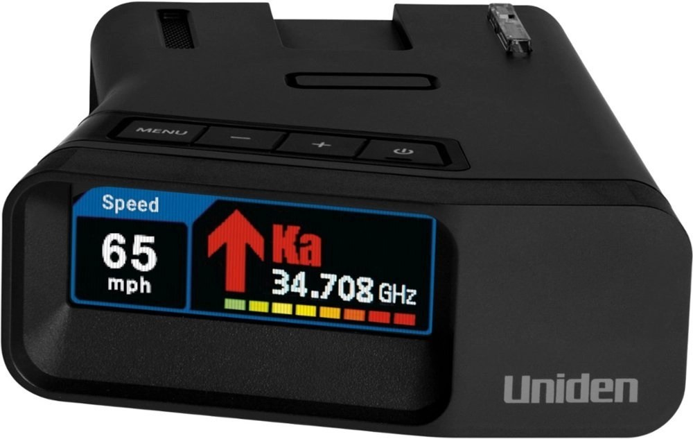 Uniden R7 Radar Detector showing speed