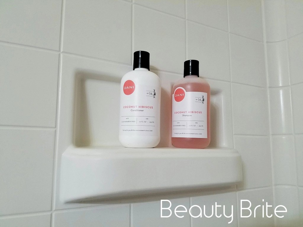 Coconut Hibiscus Sulfate Free Shampoo and Conditioner in shower