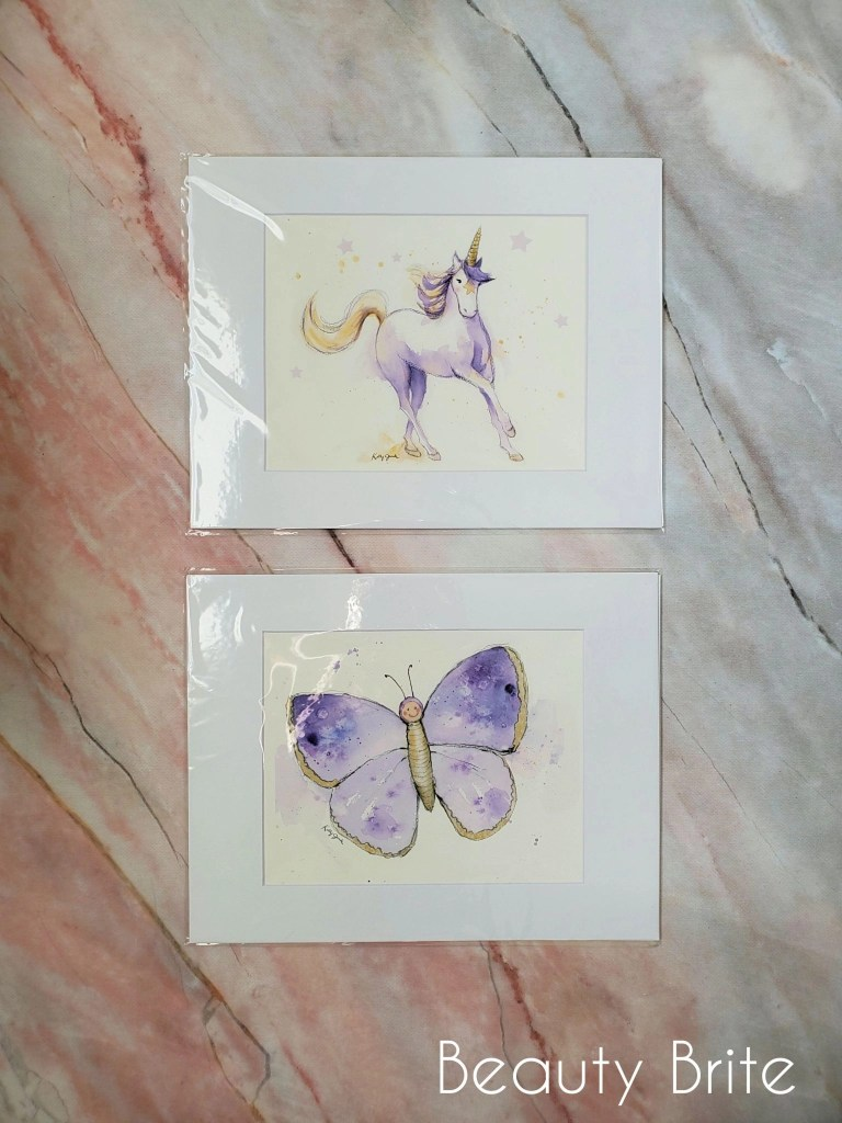 Purple Unicorn and Butterfly art prints