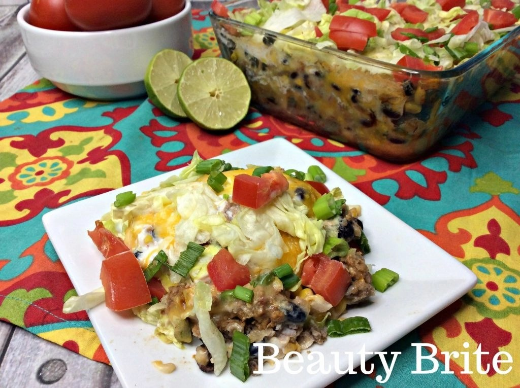 Weight Watchers Taco Casserole served on white plate