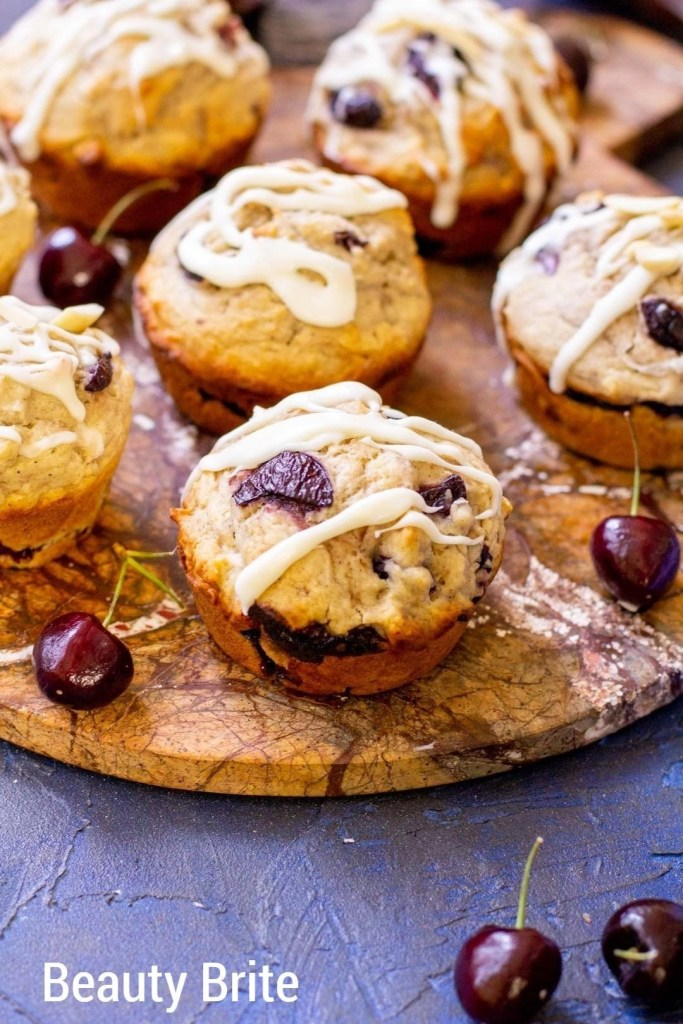 Cherry Almond Muffins center stage
