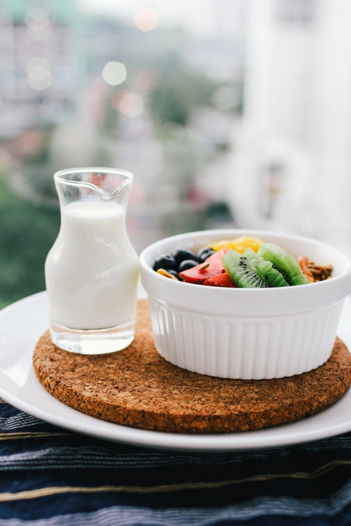 Healthy Fruit Bowl and Milk