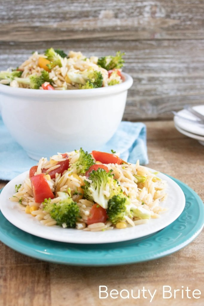 Orzo Summer Salad on plate