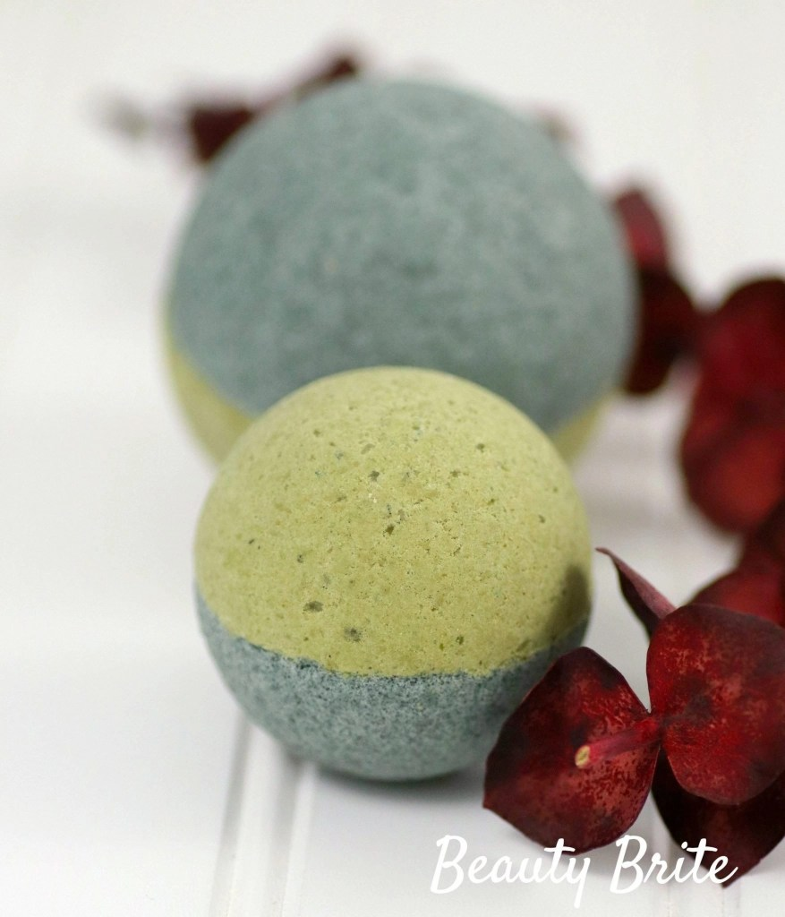 Spirulina Matcha Bath Bombs with flowers