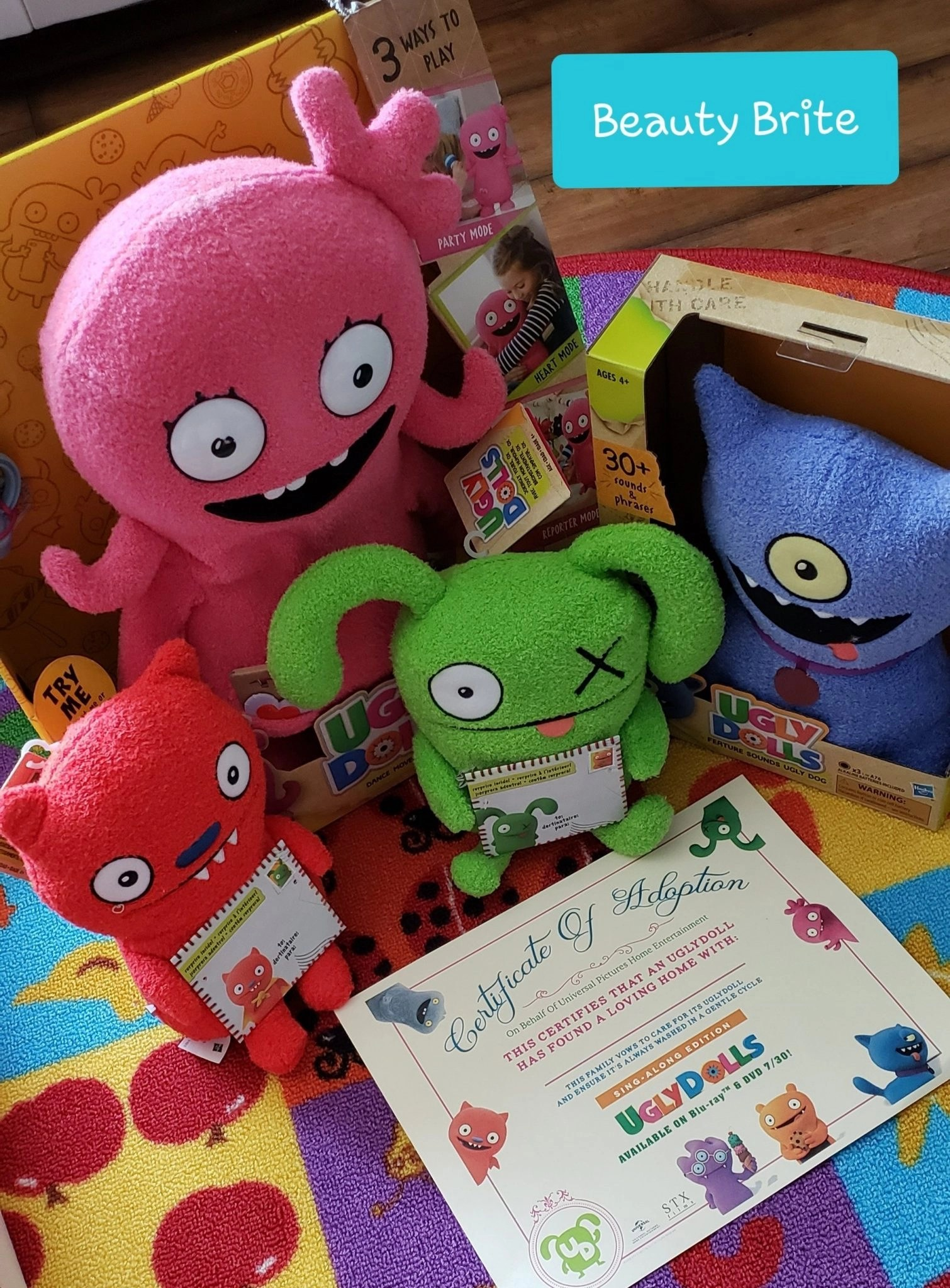 Ugly Dolls Certificate of Adoption