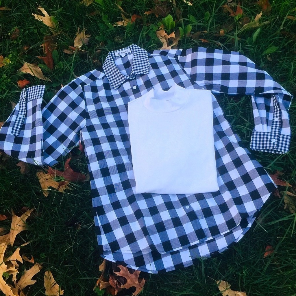 Bollie Brand White Faux Turtleneck, Bollie Brand Black & White Checkered Button Up Shirt