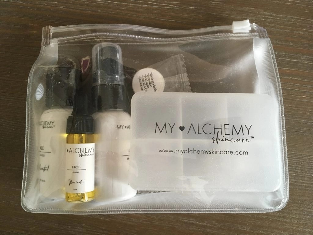My ALCHEMY Skin Care Travel Mini Kit in the included pouch