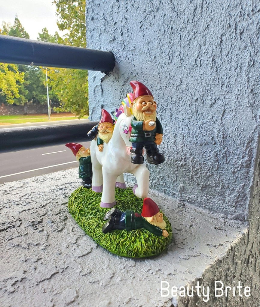 The Unicorn Attack Garden Gnomes head on