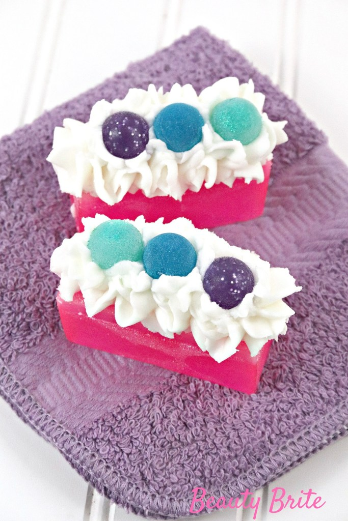 Bubblegum With Frosting Soap on purple towel