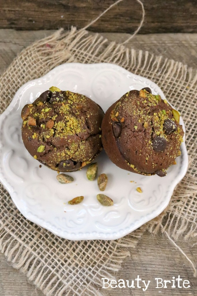 Double Chocolate Chip Pistachio Muffins served on a plate