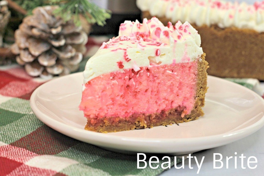 Instant Pot Candy Cane Cheesecake upclose