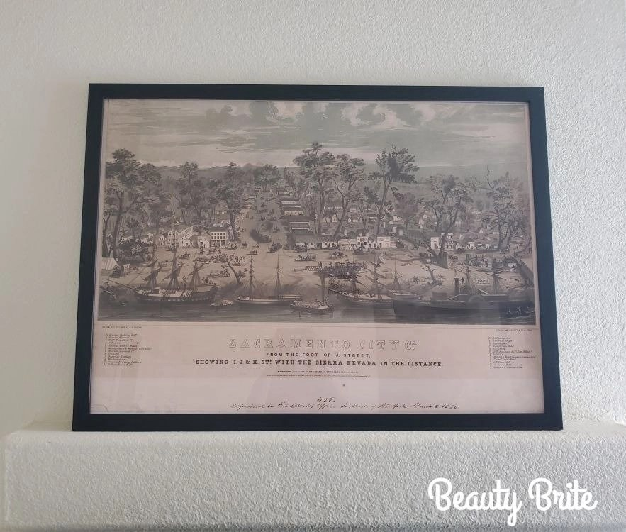 Historic Sacramento CA Map 1850 at foot of J Street showing I J K Sts
