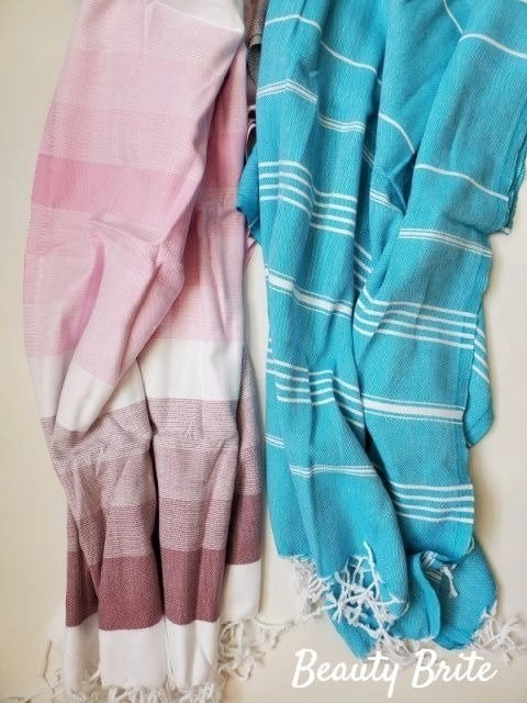 Teema Towels in Pink Layers and Blue Simple
