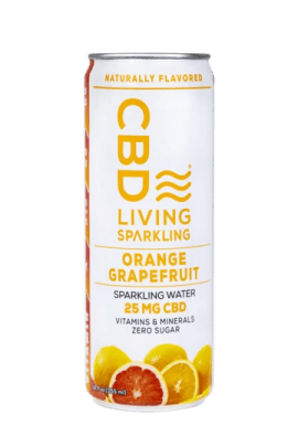 CBD Living Sparkling Water - Orange Grapefruit - Photo Credit CBD Living