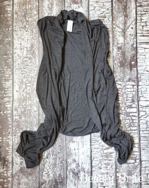 Open Front Vest in Charcoal