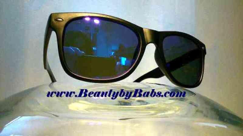 Zwarte Spiegel Zonnebril met Blauwe Spiegelglazen - Mirror Way 2