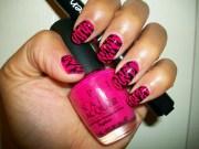notd pink animal print nail art