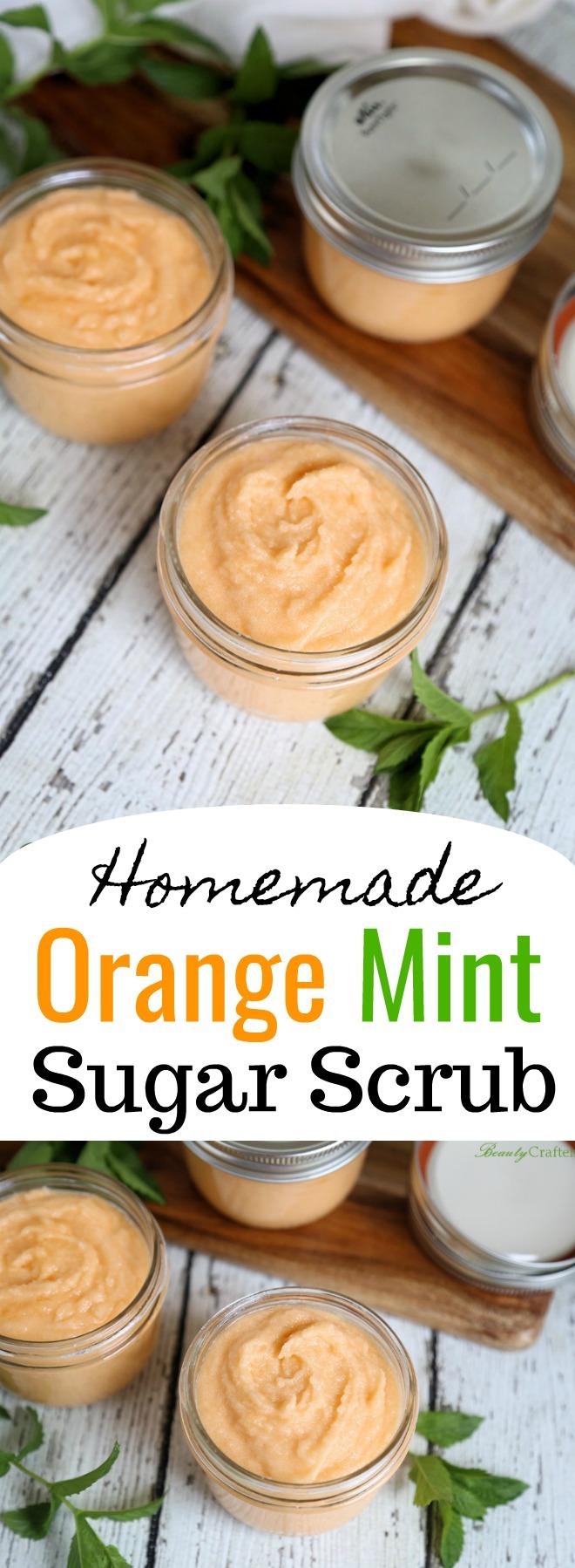 Orange Mint Sugar Scrub Recipe - Easy Homemade Gift Idea #diy #sugarscrub #essentialoils #beauty #bath
