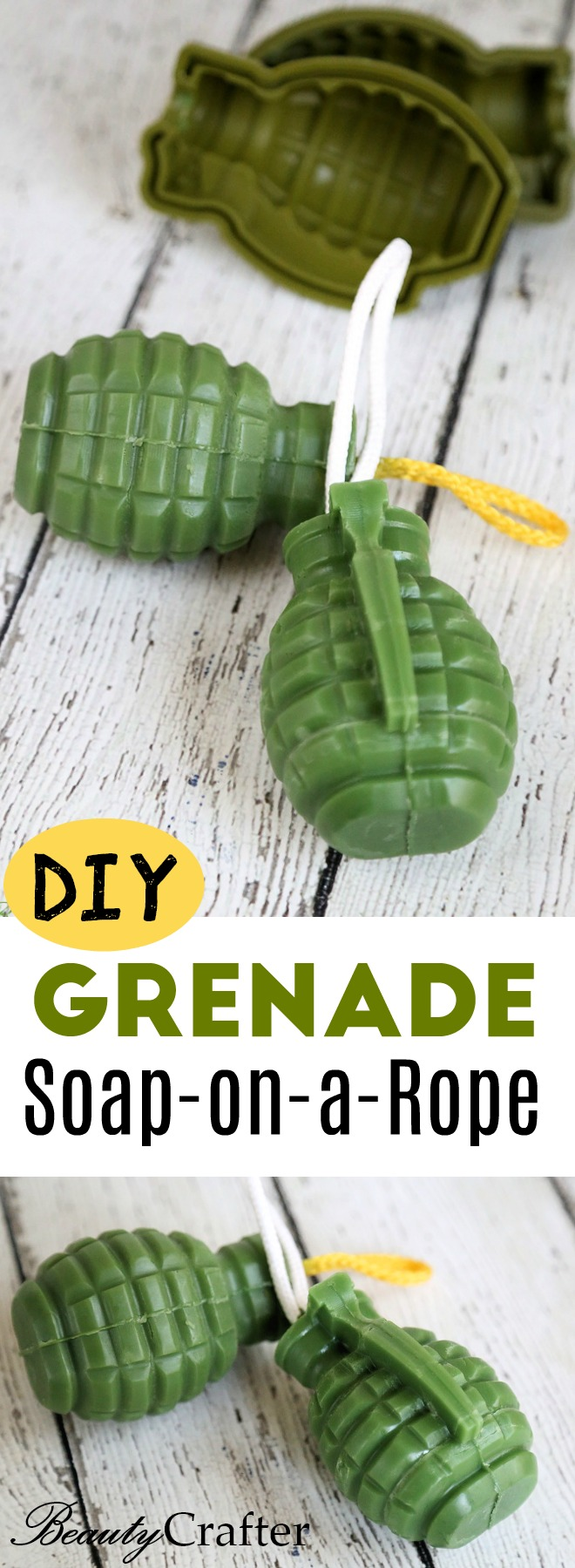 DIY Grenade Soap on a Rope great homemade gift for men, anyone in the military or kids who are interested in the topic.