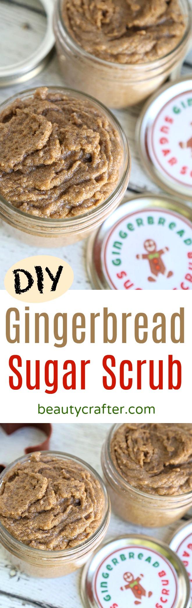 DIY Gingerbread Sugar Scrub recipe - easy homemade Christmas gift! #gingerbread #Christmas #holidays #sugarscrub #diygift