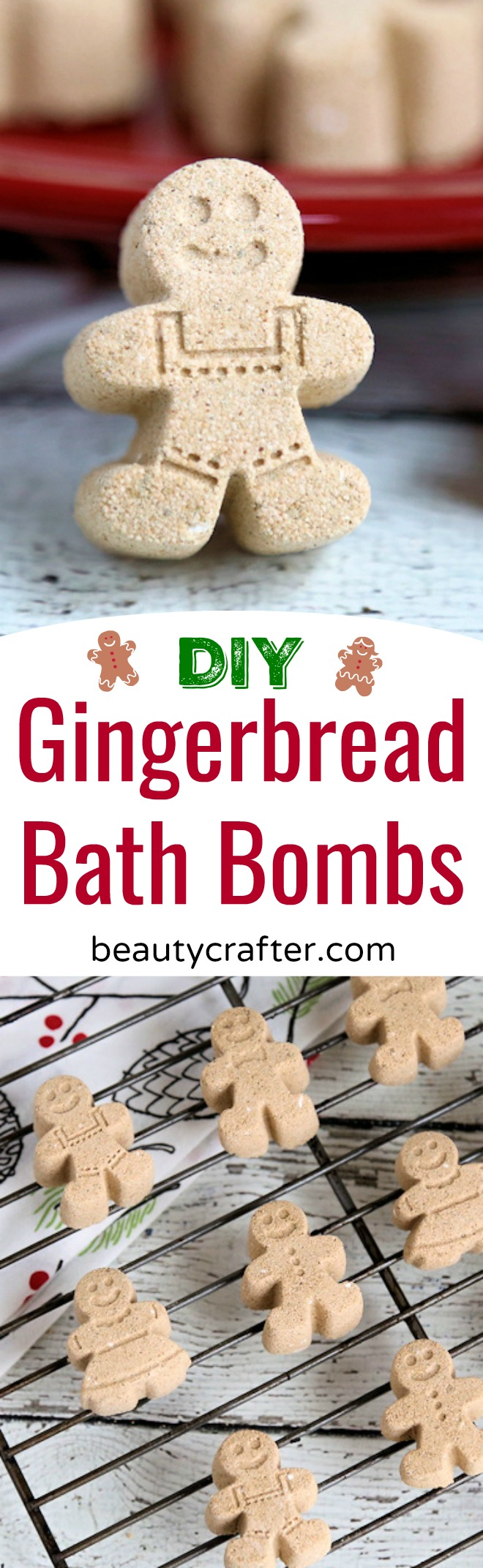 Gingerbread Bath Bomb recipe -- cute DIY Christmas bath bombs. Make a great homemade gift. #Christmas #gingerbread #bathbombs #diygift #holidays