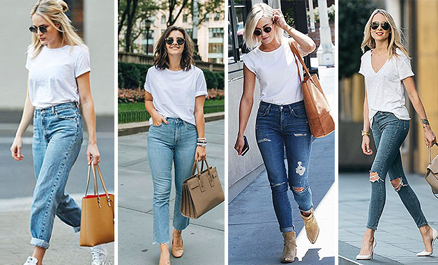 White T-shirt + Plain Old Jeans + Tan Tote bag