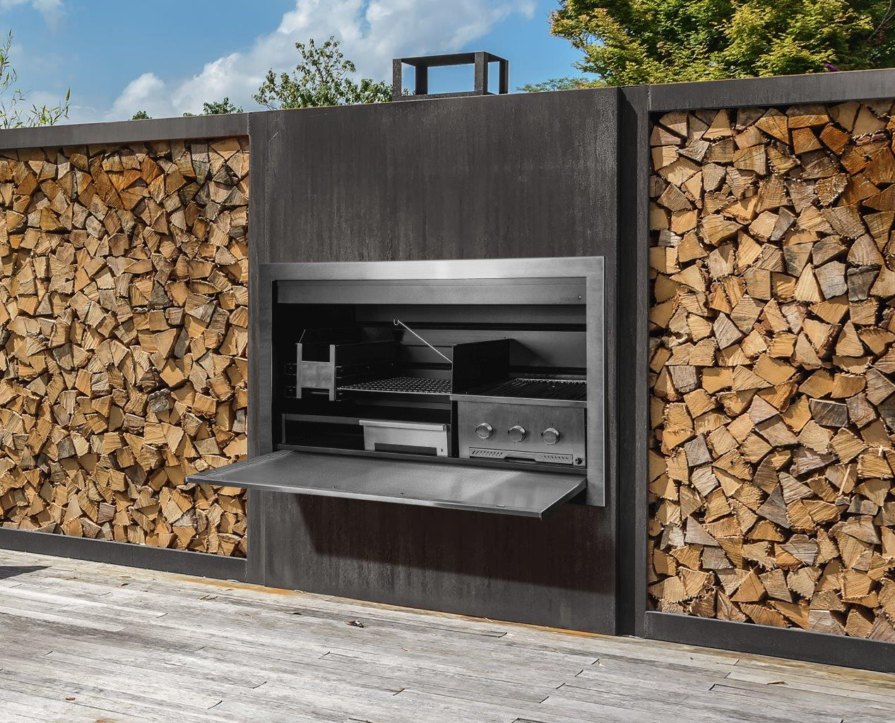 Combination Wood And Gas Fireplace Insert Stainless Steel Gas And Wood Combination Braai By Beauty