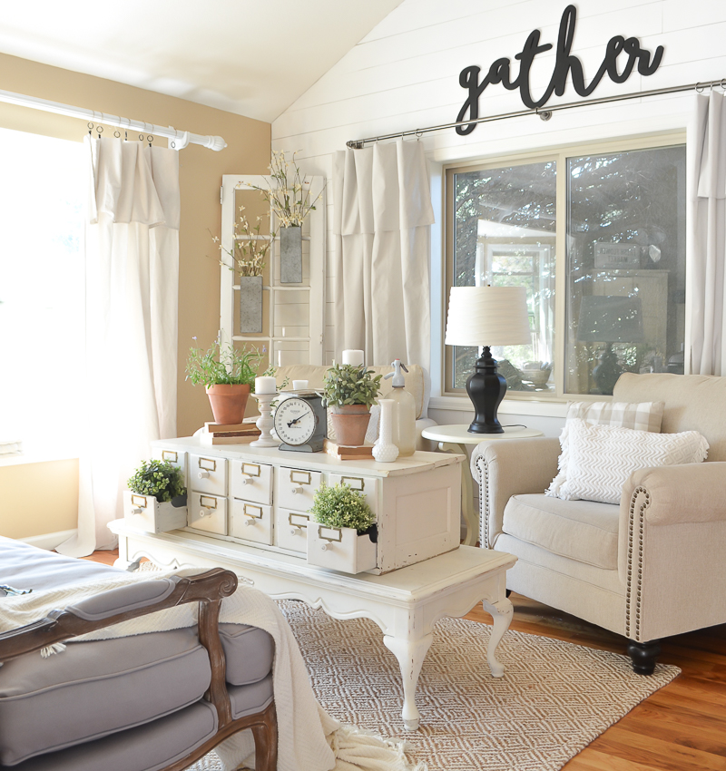 How we did a living room renovation on a budget. Taking it from builder grade to modern farmhouse on a budget by doing it yourself (diy).