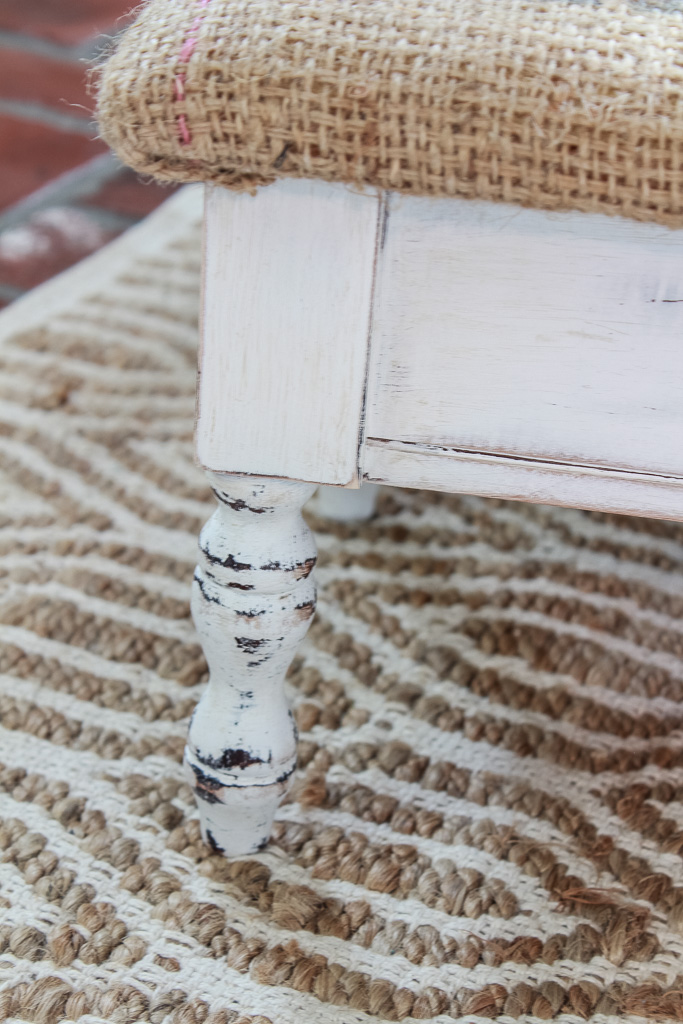 How I did a thrift store farmhouse stool makeover with chalk paint and a coffee grain burlap sack. An easy and budget friendly DIY.