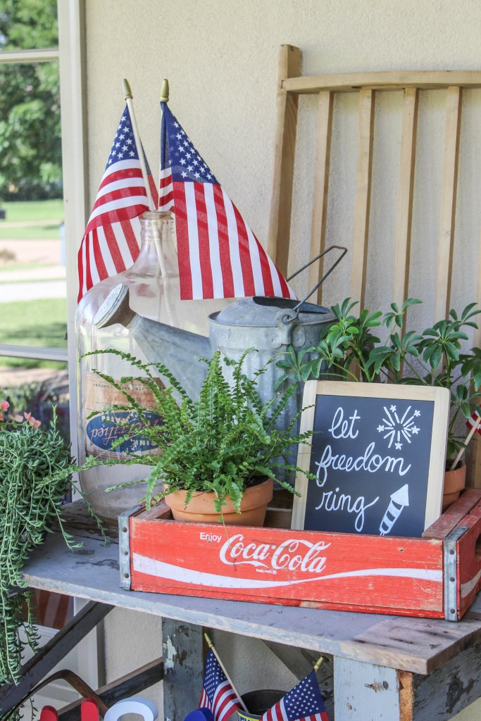 It only takes a few small and inexpensive items to create a vintage patriotic porch. You will likely already have some items on hand that you can use.