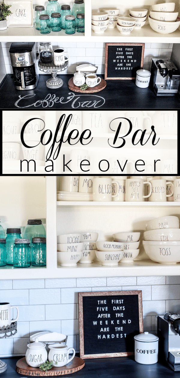Learn how I did a quick and easy coffee bar makeover, without spending a penny, by simply using items that I already had on hand.