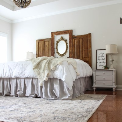 DIY Bed Skirt: No Sew Dropcloth