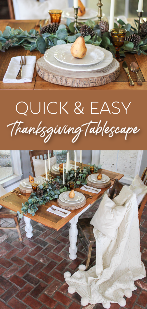 Looking for some quick and easy inspo to impress your Thanksgiving guests? Learn how I put this simple thanksgiving tablescape together in about 15 minutes.