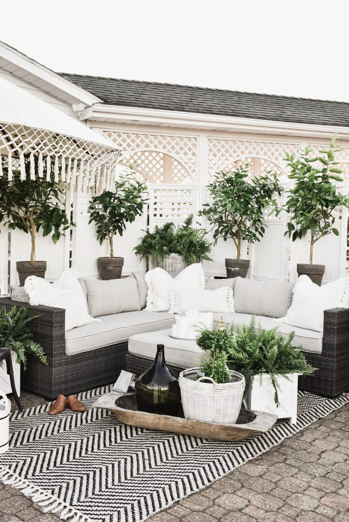 A plant lady patio that is cozy and inviting.
