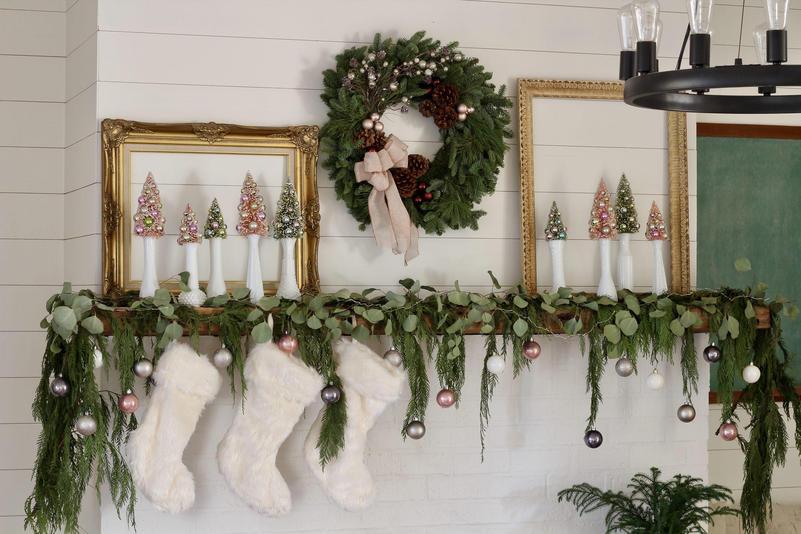 Elegant Christmas Mantel with fresh garland