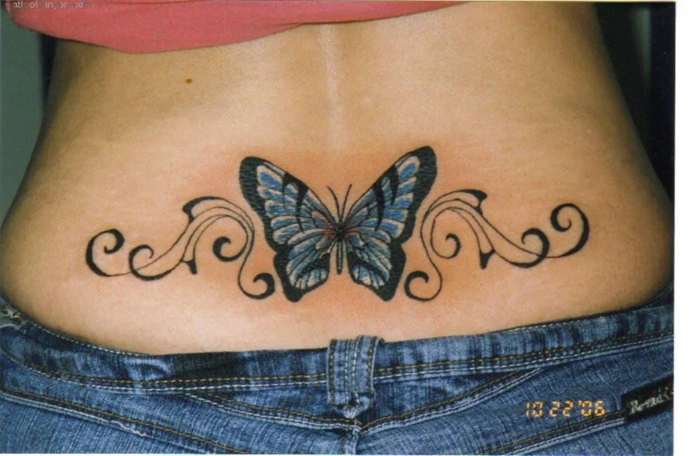 butterfly tattoo on the lower back
