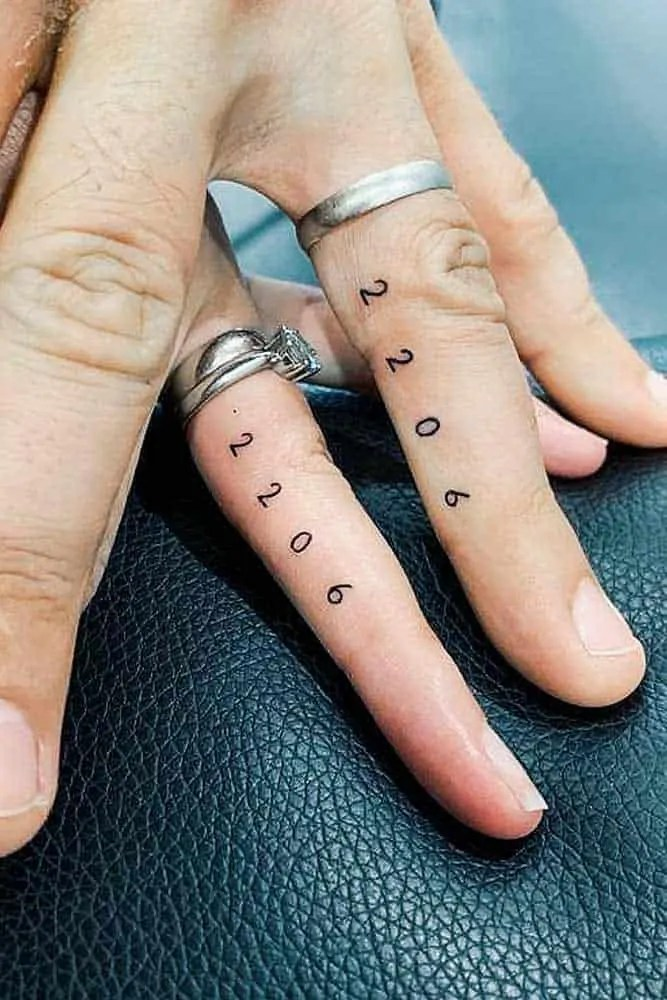 Matching marriage date Tattoos For Married Couples
