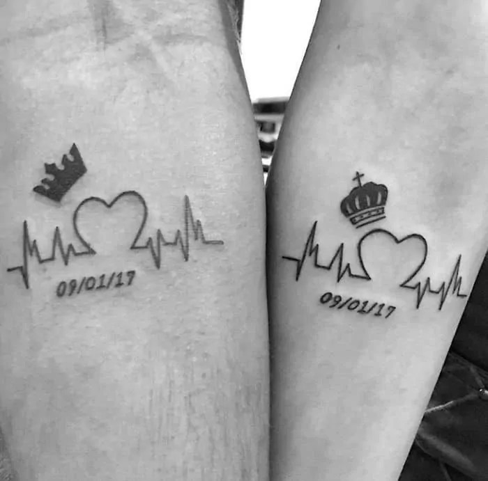 heartbeat with date tattoo